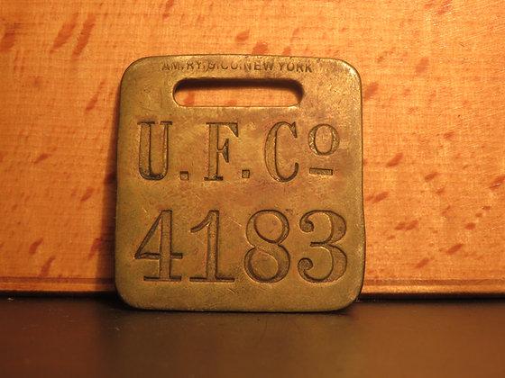 UFCO Brass Luggage Tag F4183