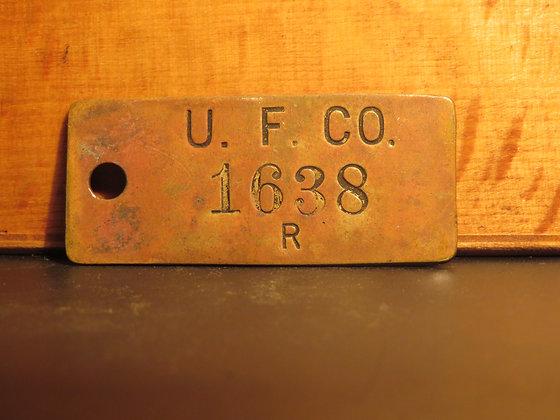 UFCO Brass Inventory Tag E1638