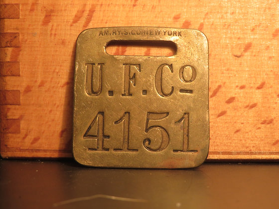 UFCO Brass Luggage Tag F4151