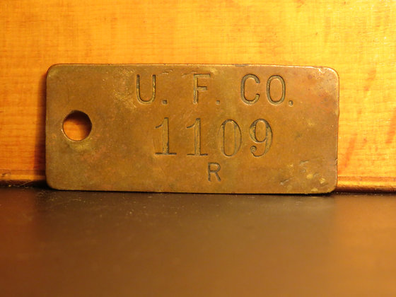 UFCO Brass Inventory Tag 1109