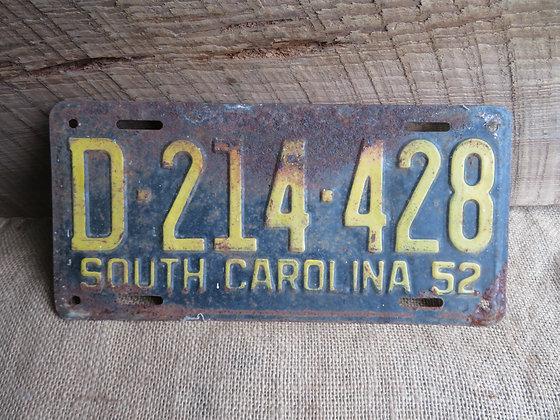 1952 South Carolina License Plate