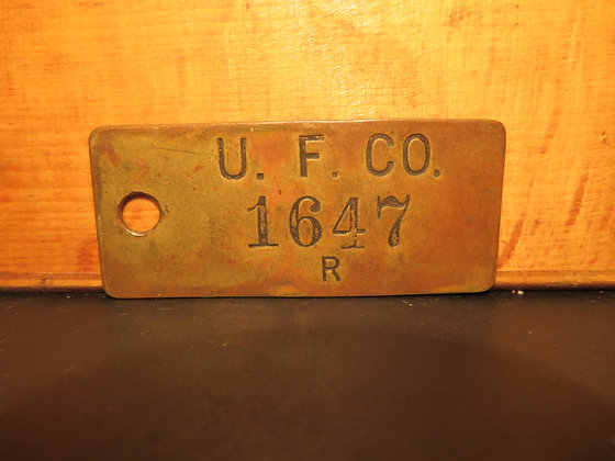 UFCO Brass Inventory Tag 1647