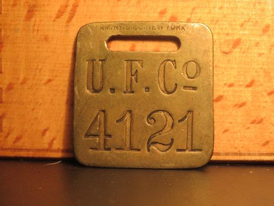 UFCO Brass Luggage Tag F4121