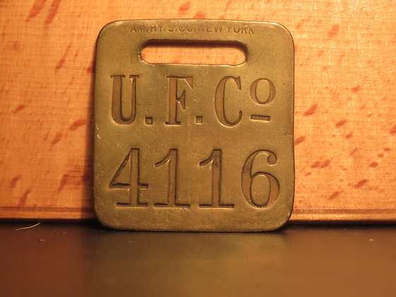 UFCO Brass Luggage Tag F4116