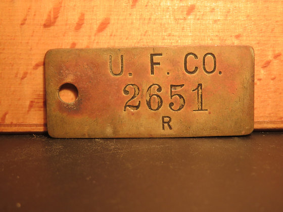 UFCO Brass Inventory Tag 2651