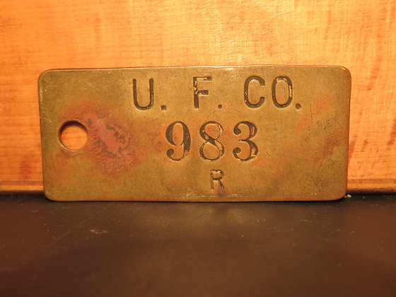 UFCO Brass Inventory Tag 983
