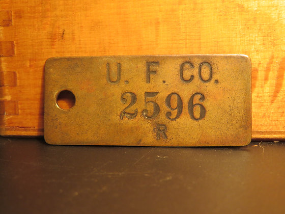 UFCO Brass Inventory Tag  2596