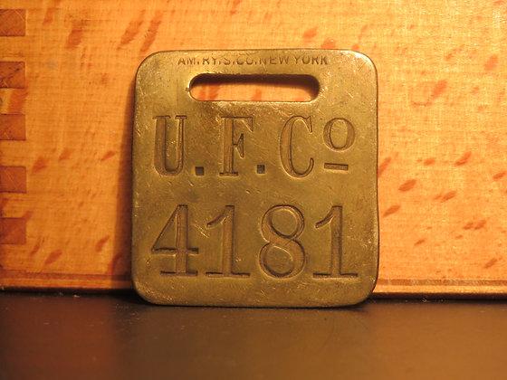 UFCO Brass Luggage Tag F4181