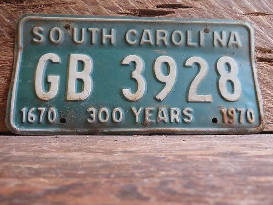 1970 South Carolina TriCentennial License Tag GB 3928