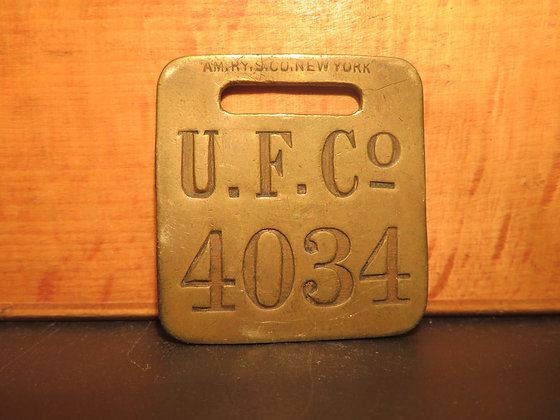 UFCO Brass Luggage Tag 4034