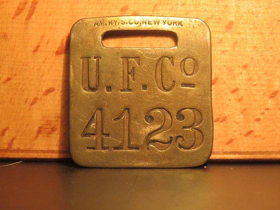 UFCO Brass Luggage Tag F4123