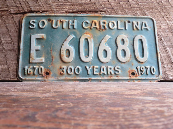 South Carolina TriCentennial License Tag E 60680