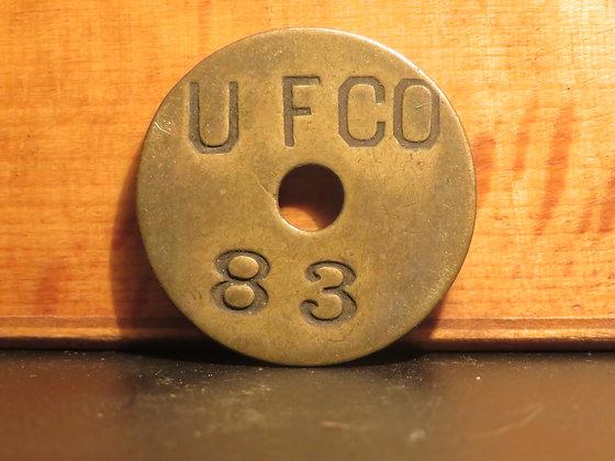 UFCO Round Brass Inventory Tag 83