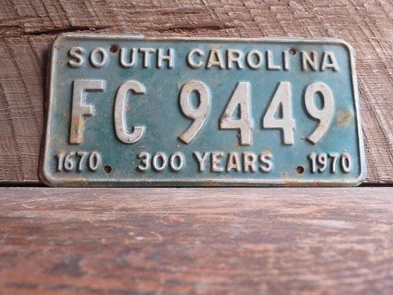South Carolina TriCentennial License Tag FC 9449