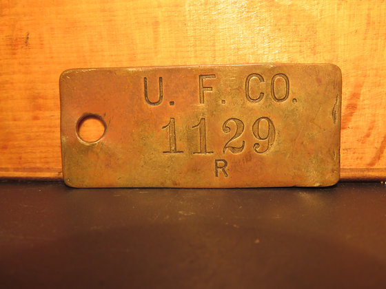 UFCO Brass Inventory Tag 1129