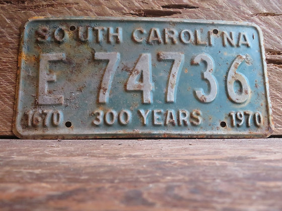 1970 South Carolina TriCentennial License Tag E 74736