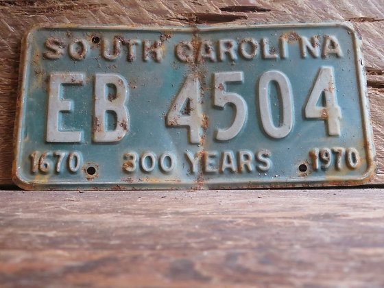 1970 South Carolina TriCentennial License Tag EB 4504