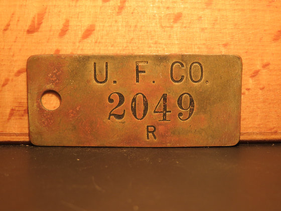 UFCO Brass Inventory Tag  2049