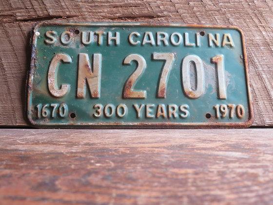 South Carolina TriCentennial License Tag CN 2701