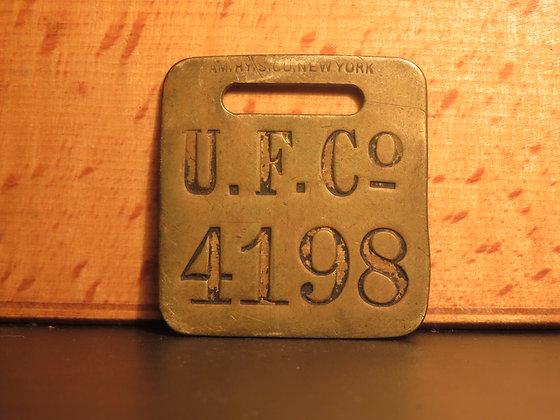 UFCO Brass Luggage Tag F4198