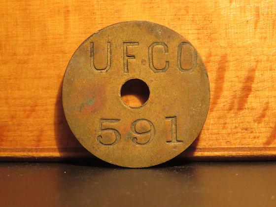 UFCO Round Brass Inventory Tag 591