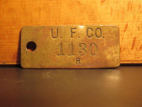 UFCO Brass Inventory Tag E1130