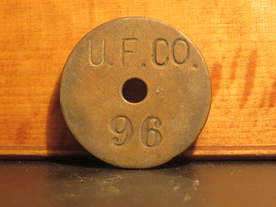 UFCO Round Brass Inventory Tag 96
