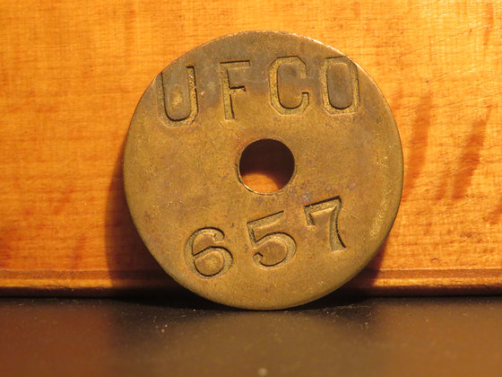 UFCO Round Brass Inventory Tag 657