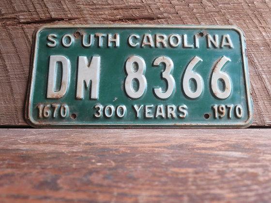 South Carolina TriCentennial License Tag DM 8366