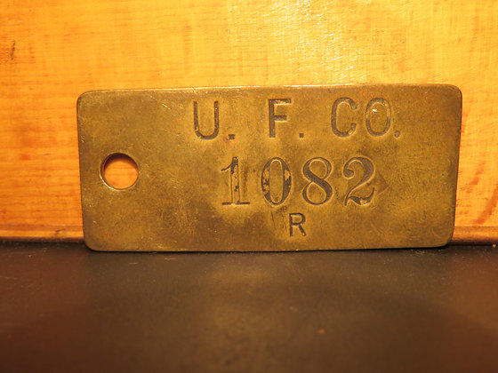 UFCO Brass Inventory Tag 1082