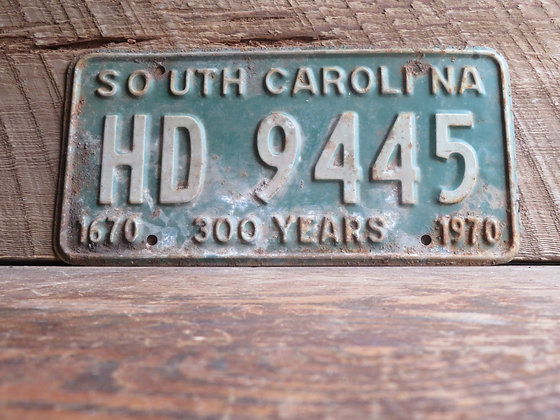 South Carolina TriCentennial License Tag HD 9445