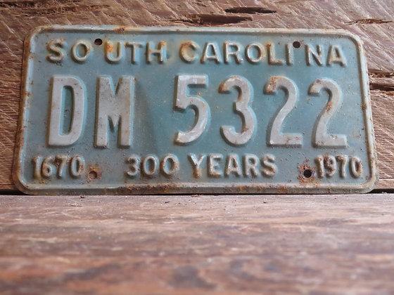 1970 South Carolina TriCentennial License Tag DM 5322