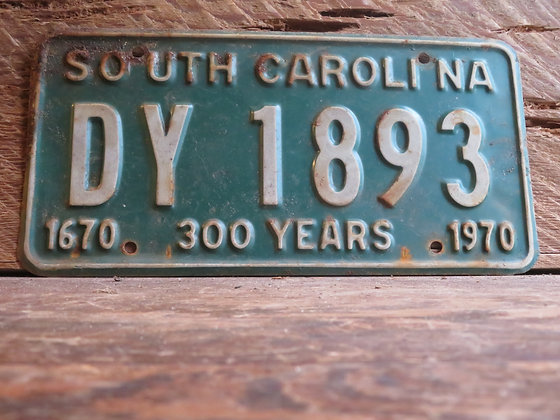1970 South Carolina TriCentennial License Tag DY 1893