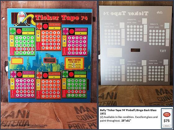 Bally Ticker Tape 74 Bingo Backglass