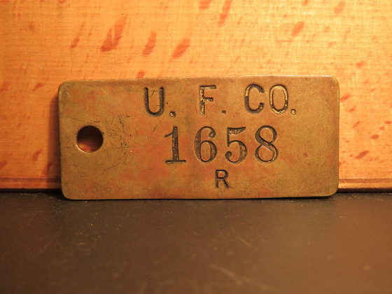 UFCO Brass Inventory Tag1658