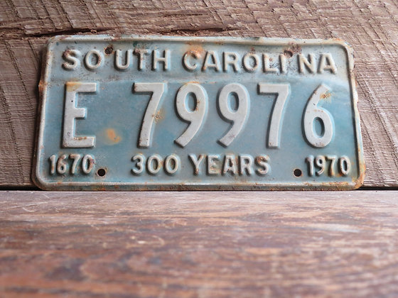 South Carolina TriCentennial License Tag E 79976