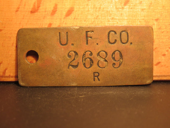 UFCO Brass Inventory Tag 2689