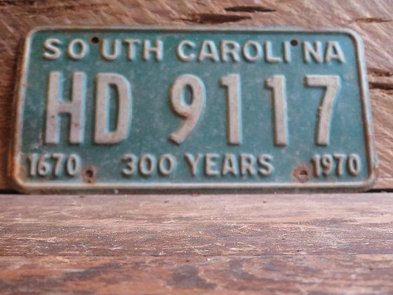 1970 South Carolina TriCentennial License Tag HD 9117