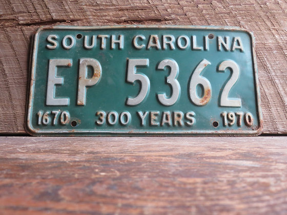 South Carolina TriCentennial License Tag EP 5362
