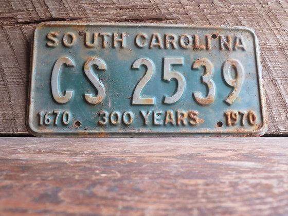 South Carolina TriCentennial License Tag CS 2539