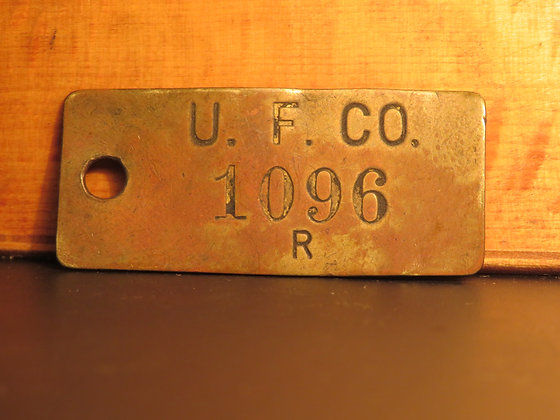 UFCO Brass Inventory Tag 1096