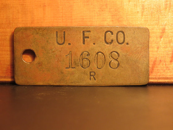 UFCO Brass Inventory Tag 1608
