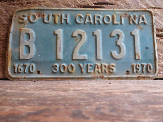 1970 South Carolina TriCentennial License Tag B 12131