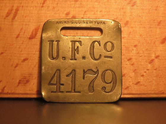 UFCO Brass Luggage Tag F4179