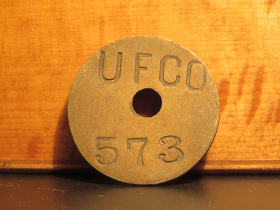UFCO Round Brass Inventory Tag 573