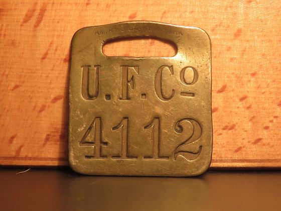 UFCO Brass Luggage Tag F4112
