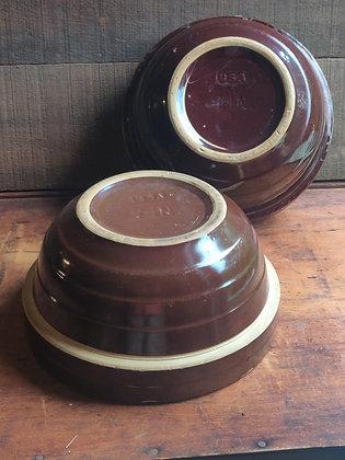 USA Brown Glaze Stoneware Mixing Bowls