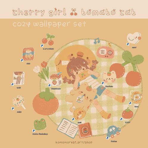 cherry tomato cozy - wallpaper+icon set
