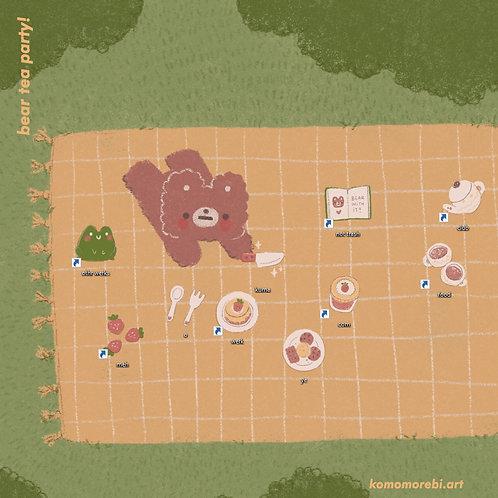 bear tea party! - wallpaper + icon set