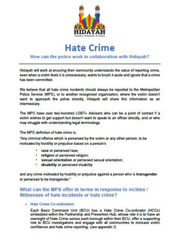 Hidayah: Hate Crime and the Police